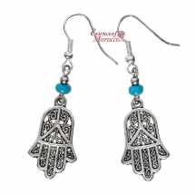 Moroccan Silver Earrings with Blue Beads Hamsa Design